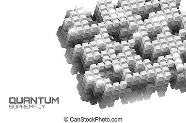 quantum, web, supercomputer, opvoering, vasten, vector, moderne, oplossen, server., technologie, probleem, illustratie, suprematie, hoog, online, gegevensverwerking, verbinding, computer., systeem