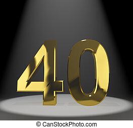 quarante, or, 40th, anniversaire, nombre, birthda, représenter, ou, 3d
