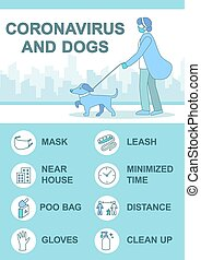 Quarantine and dog tips vector infographic template. Woman ...