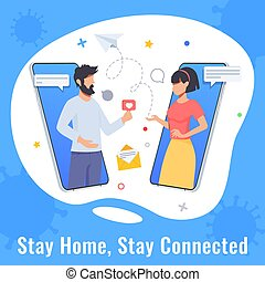 Quarantine and self isolation concept. Woman and man chatting. Online dating, couple conversation during quarantine. Protect from viruses