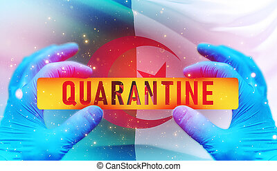 Quarantine area concept,, medical concept with flag of Algeria. Waved highly detailed close-up 3D render.