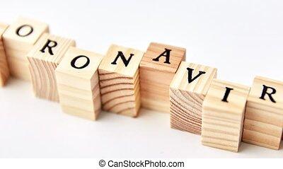 coronavirus word on wooden toy blocks on white - quarantine...