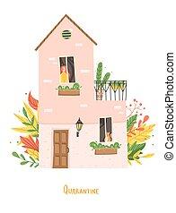 quarantine., femme, maison, séance, inscription, fenêtre, gens, chat