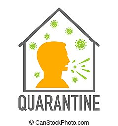 Quarantine icon. Coronavirus covid-19 avoid risk of infection