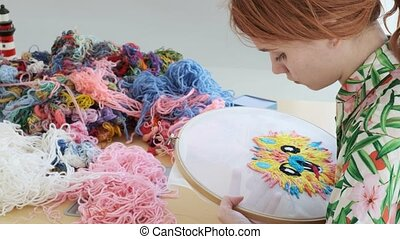 quarantine leisure: needlework, handicraft. embroidery hoop...