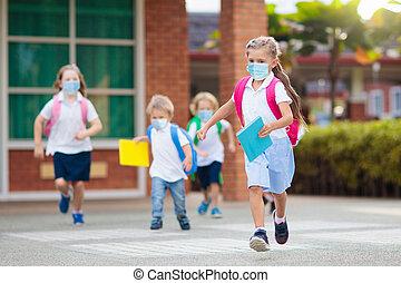 quarantine., niños, primero, escuela, día, después