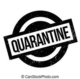 Quarantine rubber stamp. Grunge design with dust scratches....
