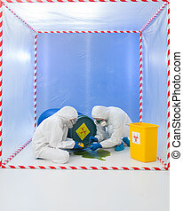 specialists wearind white protection suits and gas masks collecting samples from a liquid spilling from a blue biohazard barrel, in a cube surrounded by red and white tape