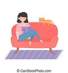 quarantine stay at home, girl reading a book on the couch with cartoon cat