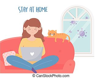 quarantine stay at home, woman using laptop on sofa with her cat