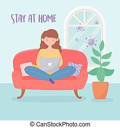 quarantine stay at home, woman working with laptop on sofa in room with plant