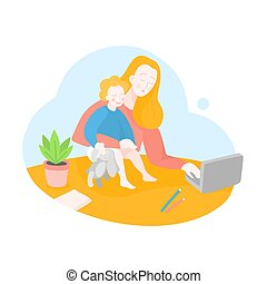 Quarantine working place. Mother freelancer with toddler. Stay at home. Mom office. Business woman works on a laptop with her baby. Online Education service for Self-isolation