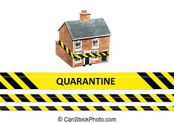 quarantine written on yellow warning tape