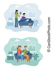 quarentine, gens, livingroom, scène