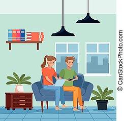 quarentine, livingroom, couple, scène