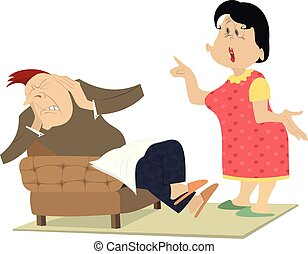 Quarrel between man and woman isolated illustration