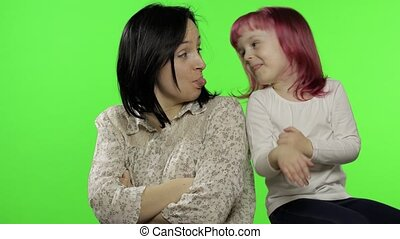 Quarrel between mother and kid child daughter. Reconciliation. Family conflict, rebellious child. Emotion expression feeling, relationship difficulties, family problems concept. Side view. Chroma key