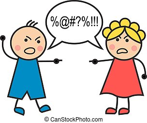 quarrel - Cartoon man and woman arguing and cussing