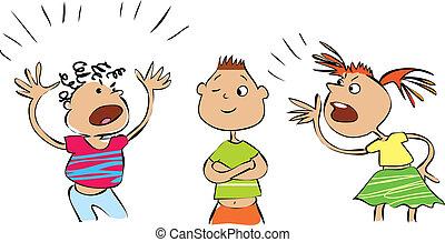 Quarrel  - Vector cartoon of three conflicting people