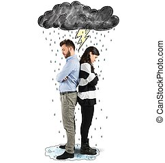 Quarrel couple - Couple under cloud with lightning and rain