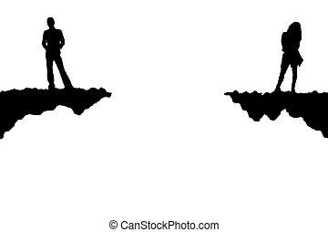 Quarrel - Illustration of the man and the woman in quarrel