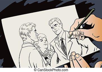 Quarrel. Two Guys arguing over a Girl - Stock illustration. ...
