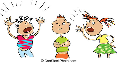 Vector cartoon of three conflicting people