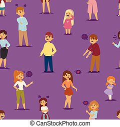Quarrel with arguing people in different situations in flat style and conflict stress couples character vector illustration.