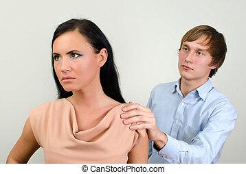 quarreling., pregunta, forgiveness., pareja, joven