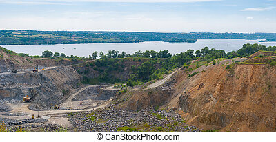 Quarry beside big river Dnipro near Dnipro city, Ukraine