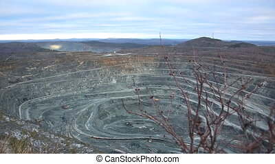 Quarry for mining of ore, minerals.