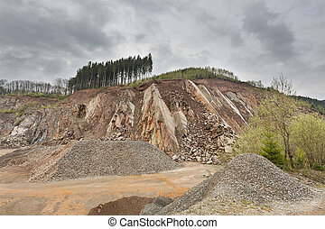 Quarry in the Ardennes, Belgium - A large quarry in the...