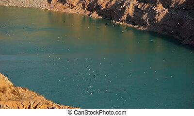 Quarry lake - A beautiful deep lake on the mountain quarry...