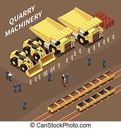 Quarry Machinery Isometric Illustration - Isometric ...