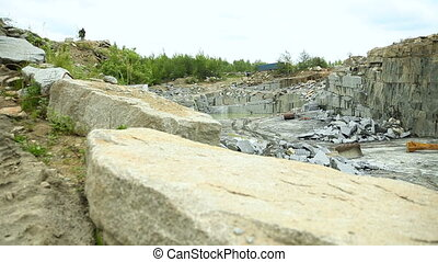 Quarry mining granite open-cast. Dolly shot