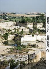 quarry., pierre, ouvert, mine