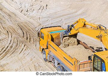 quarry., sable, travail, camion, excavateur