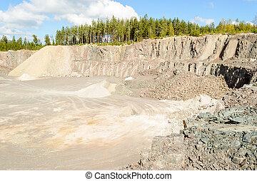 Stones and gravel in quarry