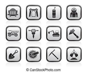 quarrying, minerario, industria, icone