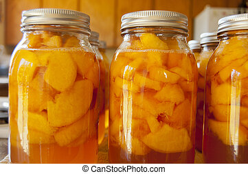 Quart jars of home canned peaches