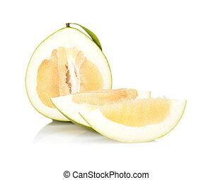 quartal, freigestellt, pomelos, drei, hälfte, weißes