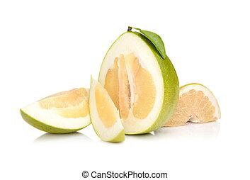 quartal, freigestellt, pomelos, vier, hälfte, weißes