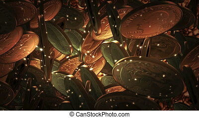Quarter Dollar coins flying on a liquid gold