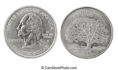 United States money. Quarter dollar coin (Connecticut). Obverse and reverse isolated over white