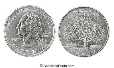 Quarter Dollar Connecticut - United States money. Quarter...