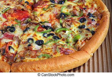 Quarter of a pizza - Close-up on a quarter of a pizza...