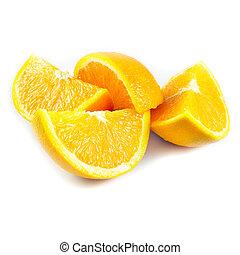 quarter of orange isolated on a white background