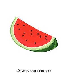 Quarter watermelon. Vector illustration on white background.