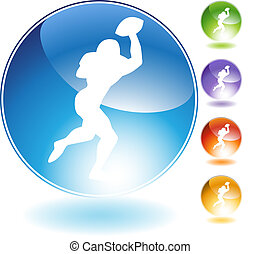 Quarterback Football Crystal Icon