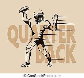 quarterback, gráfico, aislado